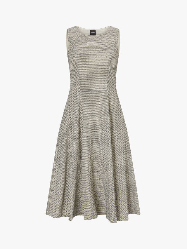 Textured Sleeveless Flared Dress