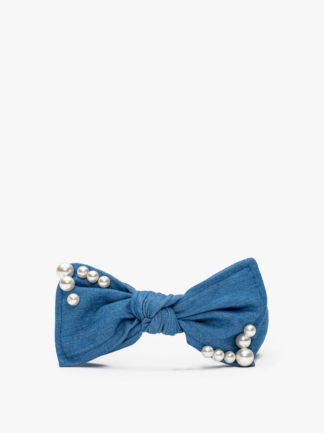 Denim Large Bow With Pearl
