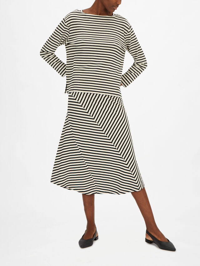 Dacey Drop Shoulder Striped Jersey Long Sleeve Top