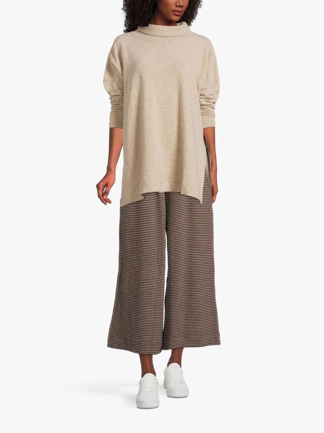 Rib Roll Neck Fleece Split Side Tunic
