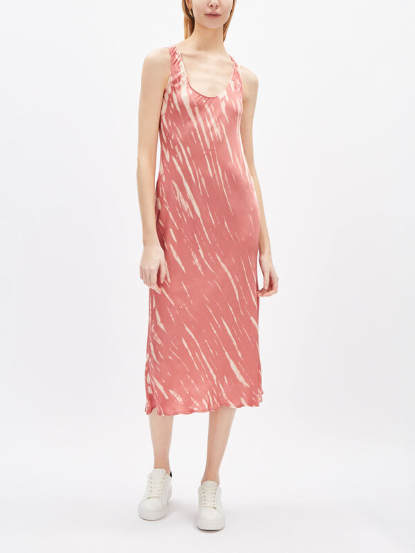 Billy Tie Dye Satin Sleeveless Midi Dress