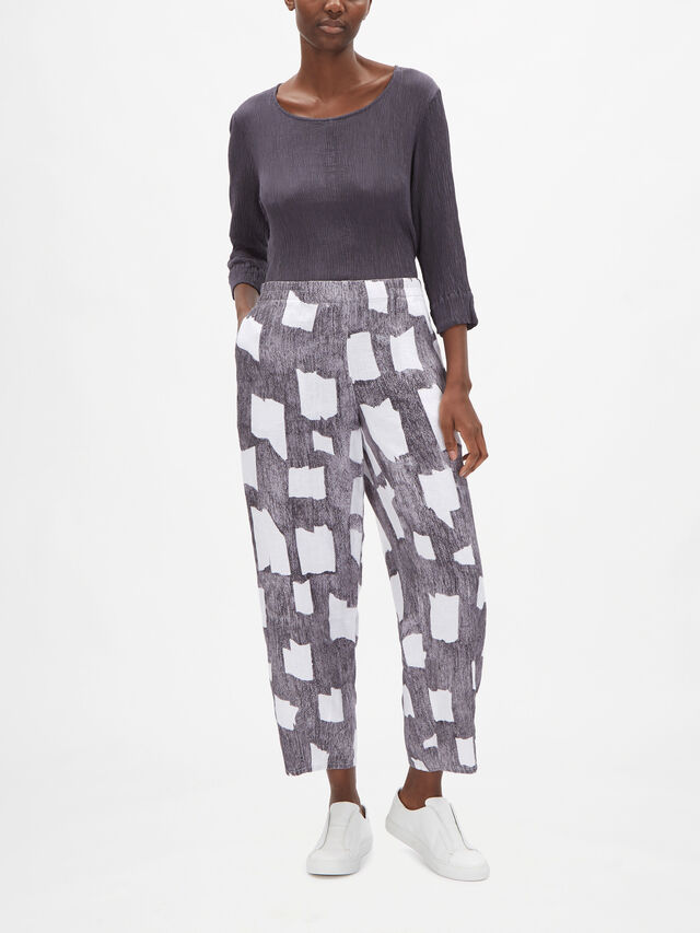 Abstract Shape Print Pull On Linen Trouser