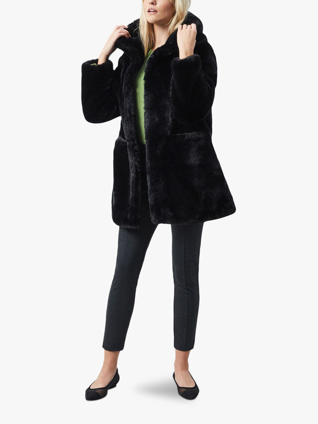 Front Pocket Faux Fur Coat