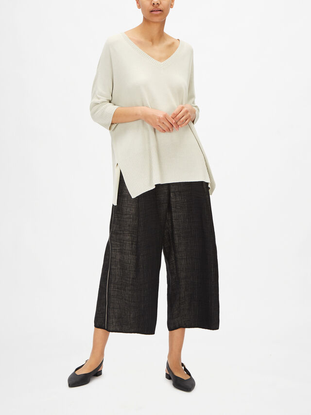 Relaxed Fit V Neck Knit with Ribbed Hem
