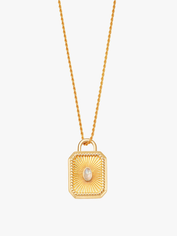 Moonstone Square Locket Rope Necklace