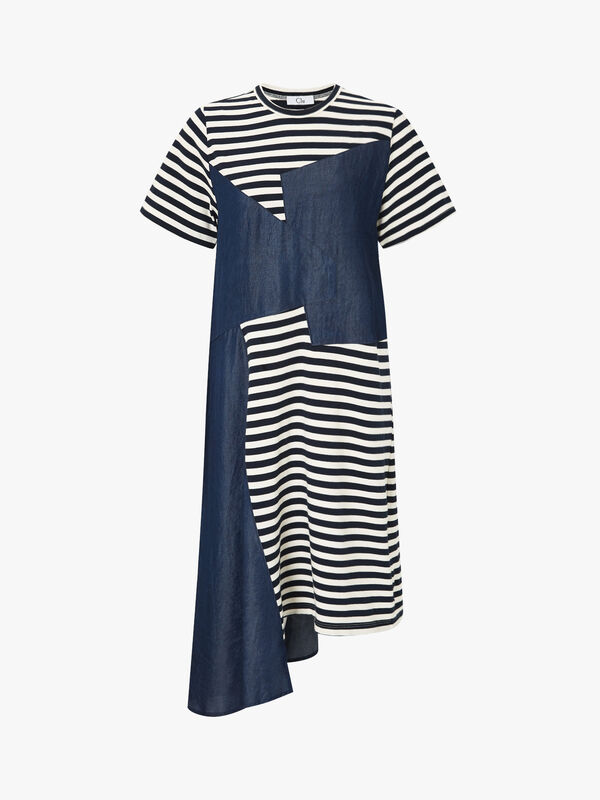 Mix Media Striped Knit Dress