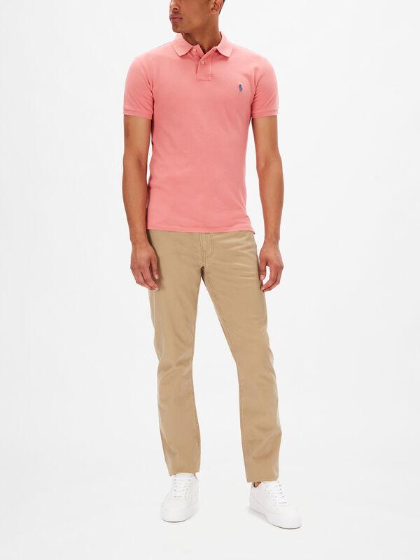 Slim-Fit Basic Mesh Polo Shirt