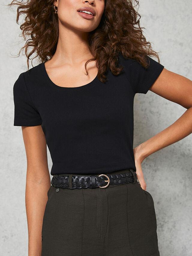Black Scoop Neck Rib T-Shirt