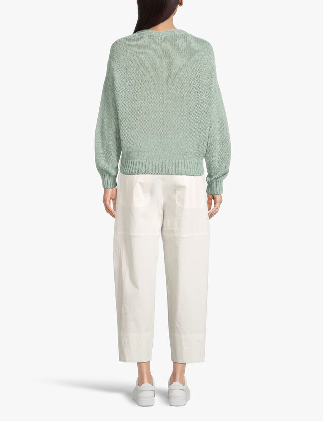 Button Front Cropped Cotton Tapered Trouser with Patch Pockets