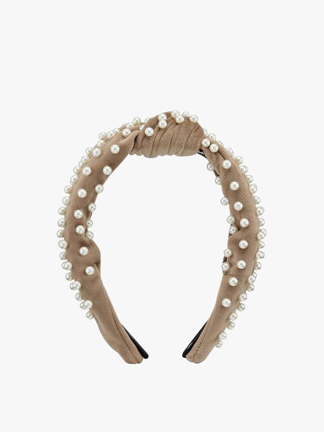 Knotted Pearl Velvet Headband