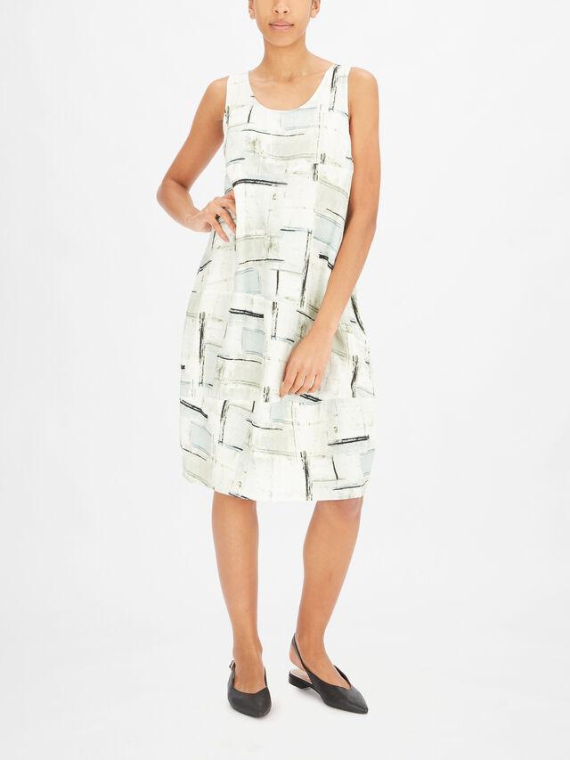 Line Drawing Print Midi Shift Dress