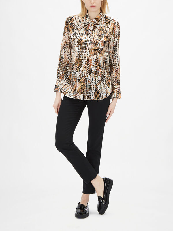 AOP Print V Shirt With Breast Pockets