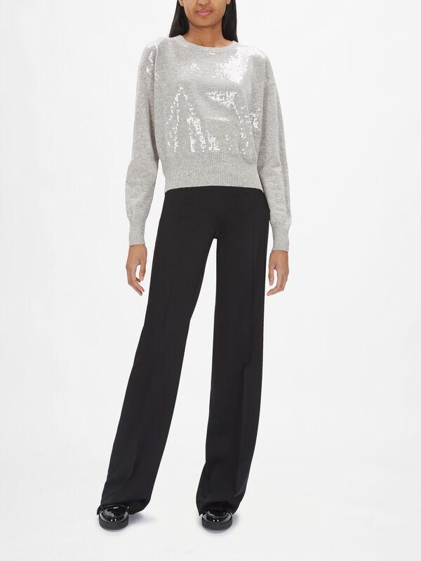 Eritea Cashmere Blend Embellished Front Knit