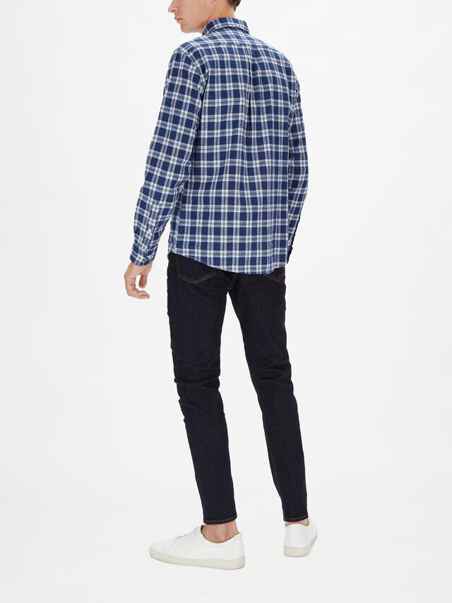 Linen Mix Checked Long Sleeved Shirt