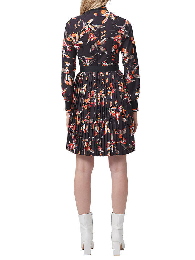 Eliva Drape Long Sleeve Pleated Dress