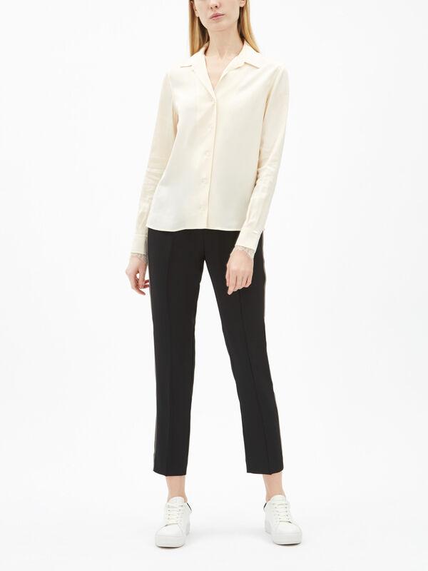 Long Sleeve Lace Trim Blouse