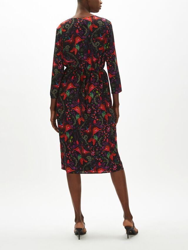 Button Neck Midi Dress