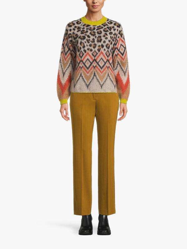 Round Neck Leopard Zig Zag Print Knit Jumper