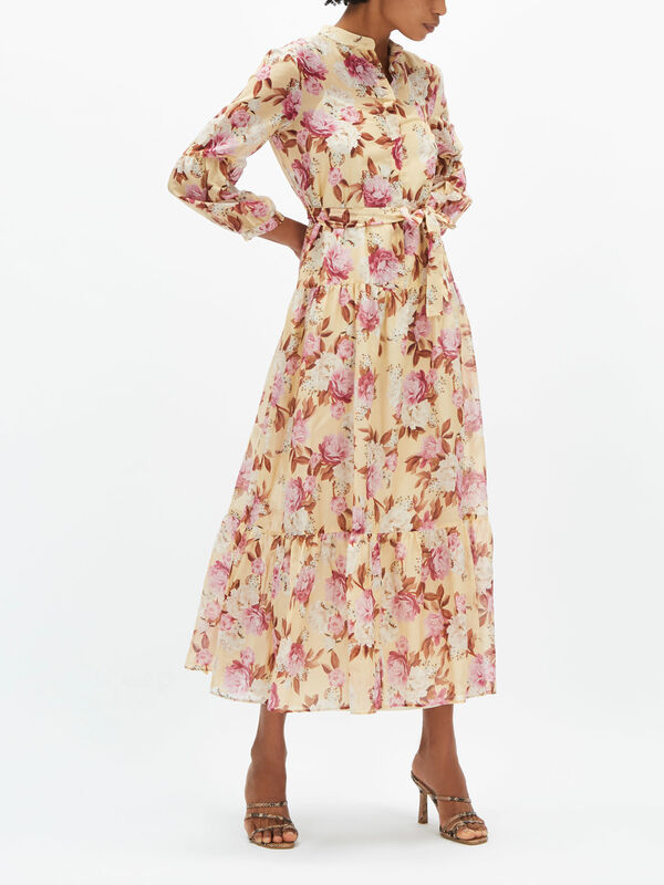 Clava Floral Print Tiered Dress
