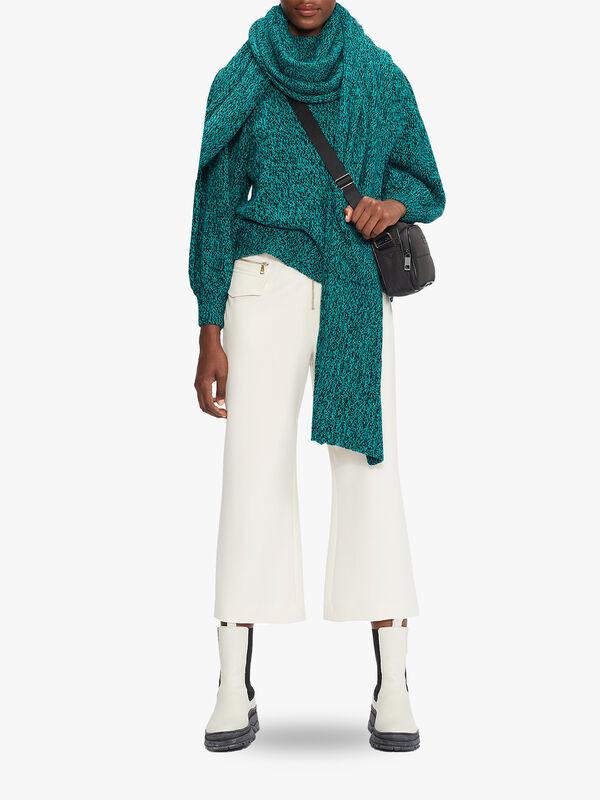 ELVINAA Pleat Sleeve Cropped Sweater