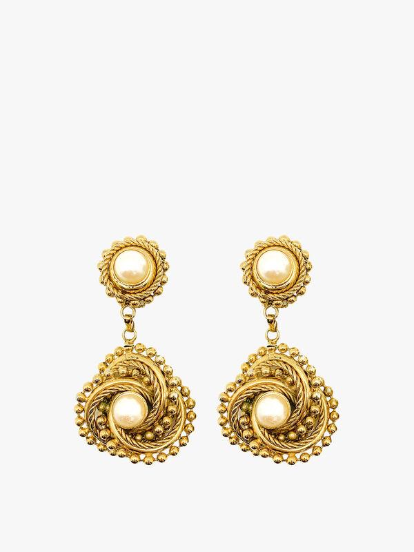 Vintage Double Pearl Drop Statement Earrings