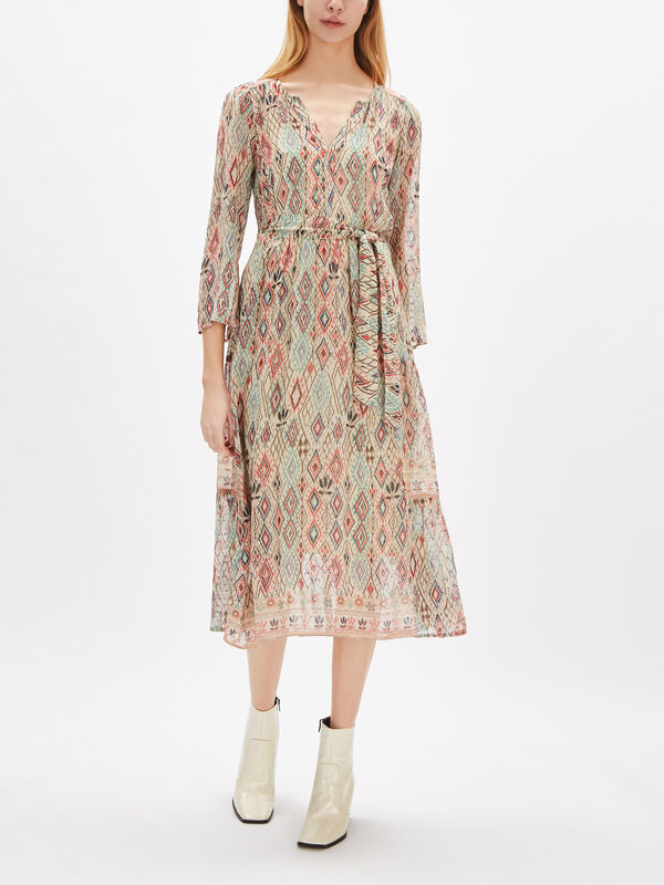 Ariel Lurex Print Long Sleeve Midi Dress