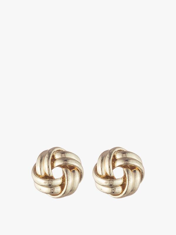 Gold Tone Knot Stud Earrings