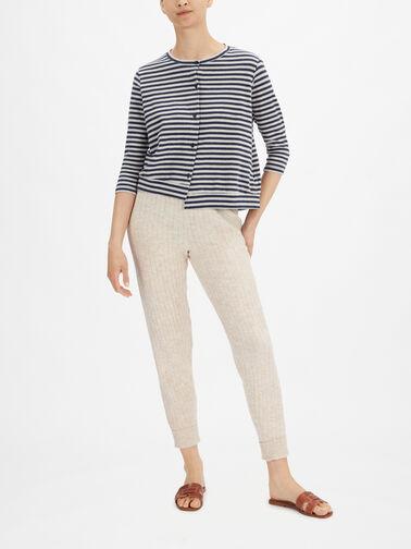 3-1-4-Slv-Stripe-Eco-Fleece-Round-Neck-Cardigan-Erbaluce