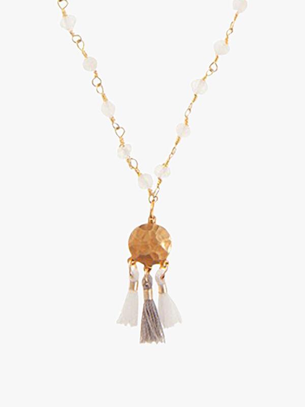 Short Moonstone Tassel Pendant Necklace