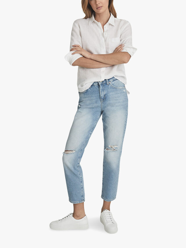 LAKELYRIPPED Mid Rise Straight Jeans With Rip Detail