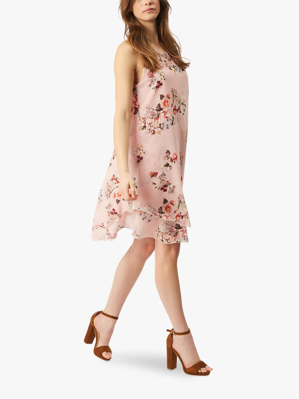 Sleeveless Floral Wave Hem Dress