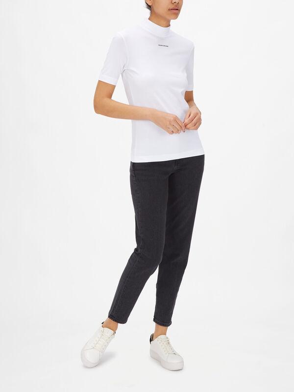 Micro Branding Stretch Mock Neck T-Shirt