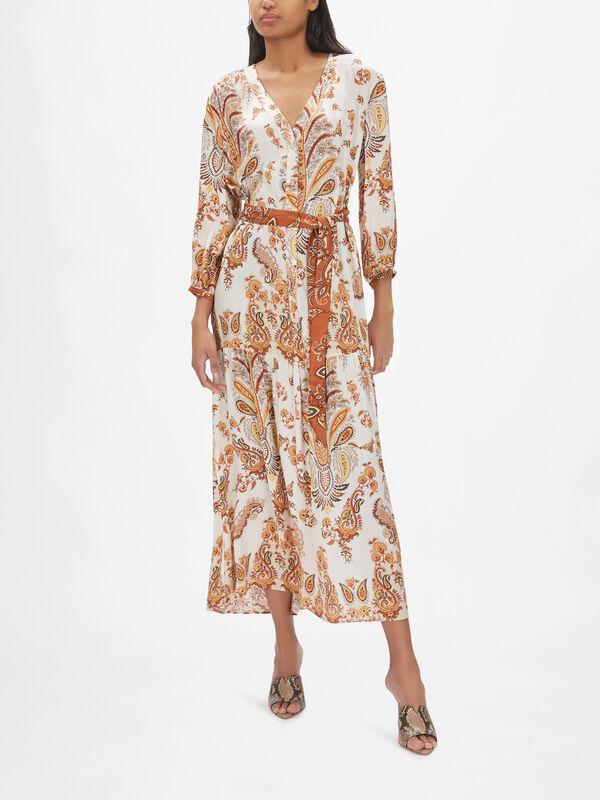 Paisley V-Neck Maxi Dress