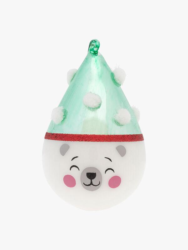 Polar Bear Tear Drop Christmas Decoration