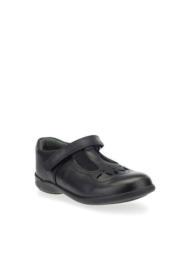 Poppy Black Leather School Shoes