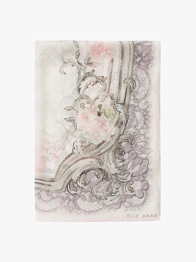 Lace Flower Chiffon Scarf