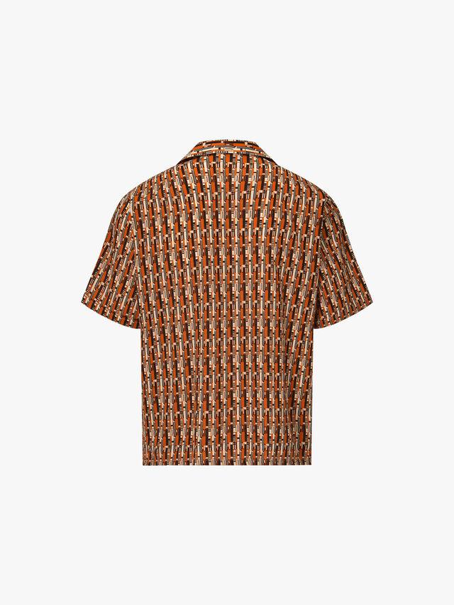 Cuban Collar Retro Print Shirt