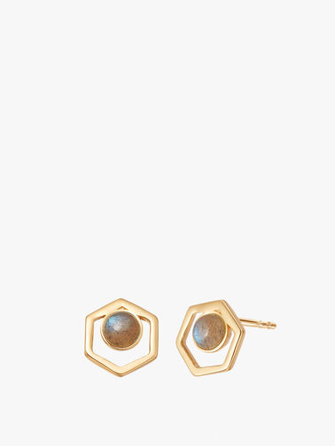 Labrodorite Gold Healing Cut Out Studs