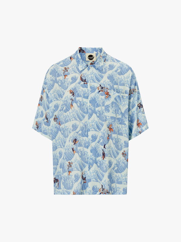 Koi Open Collar Shirt