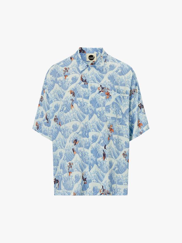 Koi Open Collar Shirt