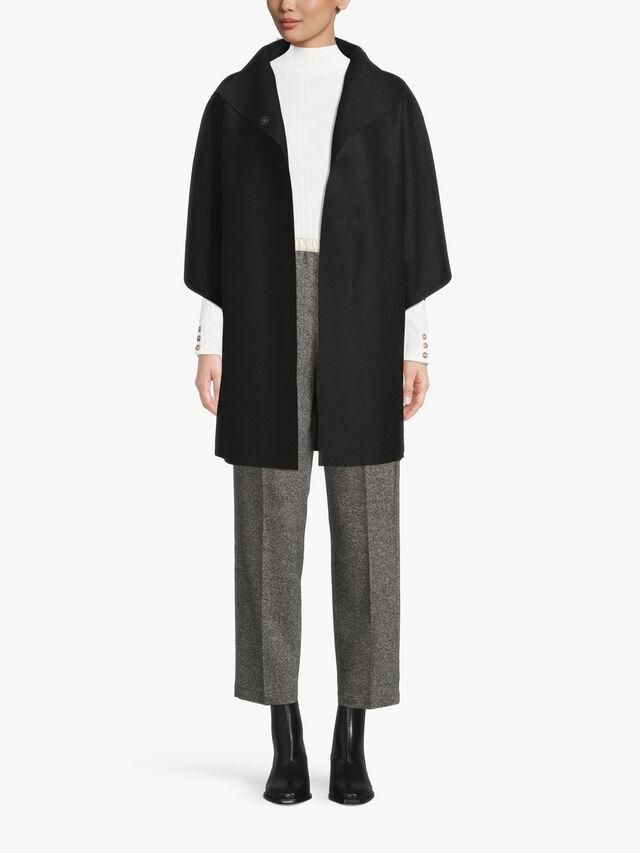 Pressed Wool Kimono Mantle Coat