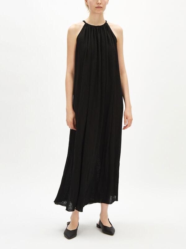 Linen Jersey Maxi Boatneck Dress