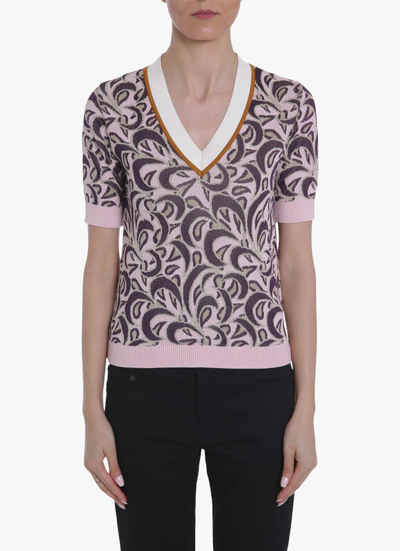 V Neck Printed Knitted Top