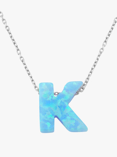 Silver Opal Letter Necklace