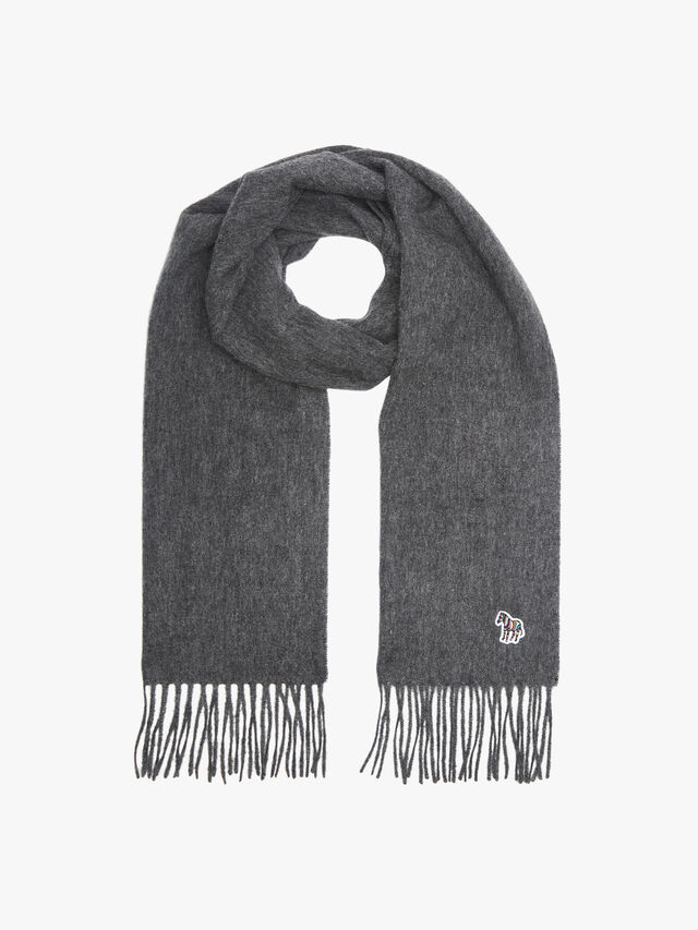Zebra Embroidered Lambswool Scarf