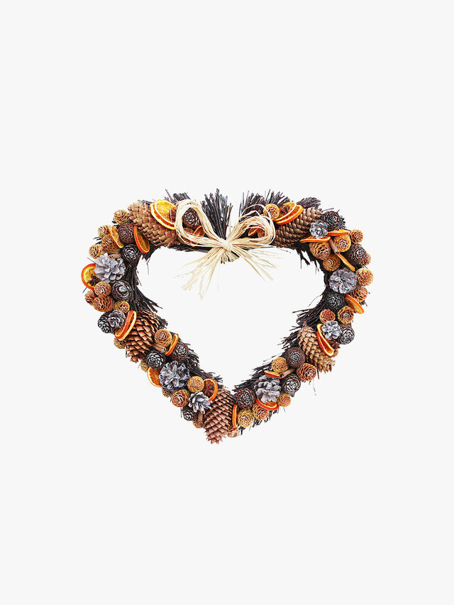 Cone and Orange Twig Heart 20cm