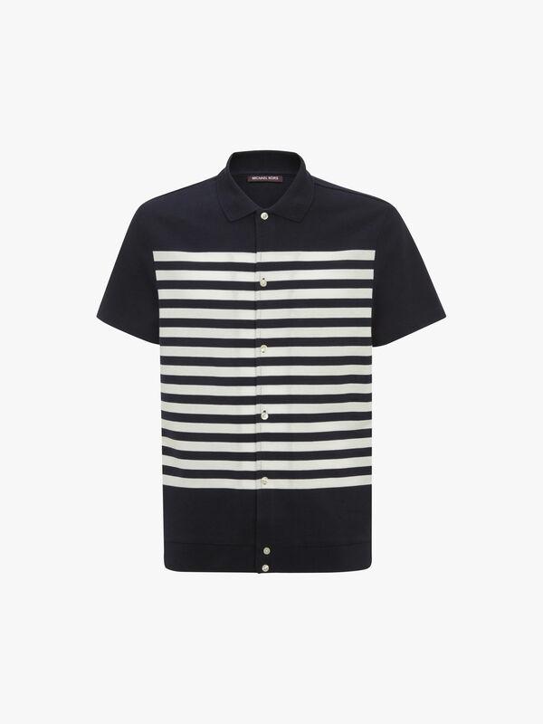 Striped Button Down Polo Shirt