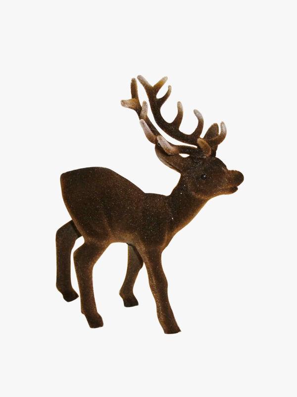 Flock Reindeer Brown Decoration