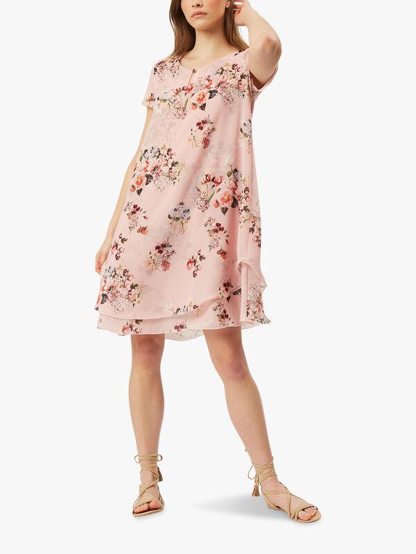 Cap Sleeve Floral Wave Hem Dress