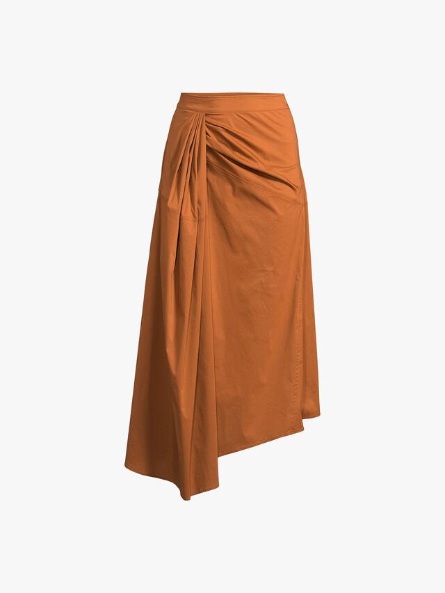 Asymmetical Twist Detail Cotton Maxi Skirt